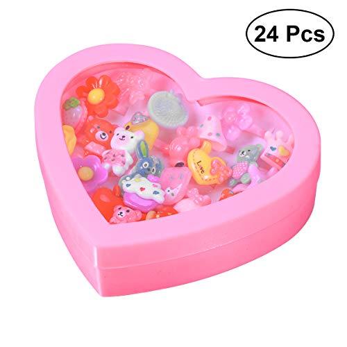 YeahiBaby 24pcs Anillos de Dedos para Niñas Anillos de Dibujos Animados Anillos...