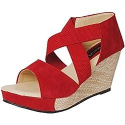 Alphastar Women's Fashionable Platform Heels Wedges - SA-01 (Indian 7/EU 40, Red)