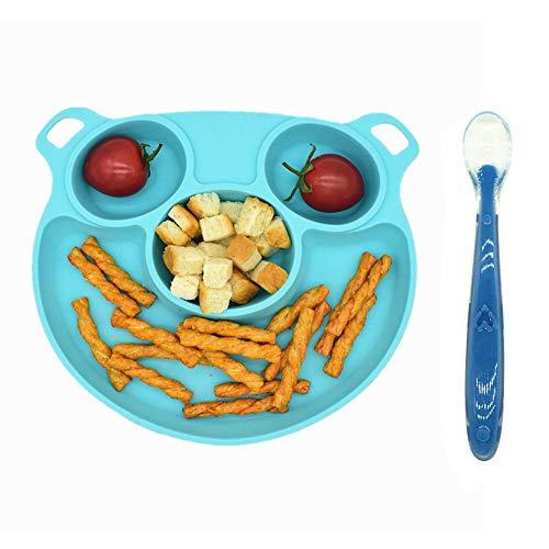 Xiangmall Tovaglietta Piatto Silicone Commestibile Piatti per Bambini Piatto Portatile con Ventosa e Cucchiaio per Neonato Bambino