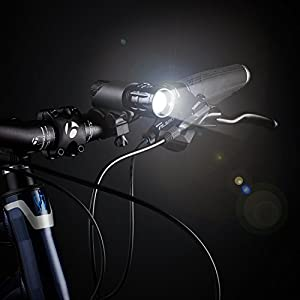 Noza Tec Mountain Bike Zoomable Front Lights Black with 5 LED Rear Light from Noza Tec
