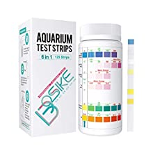 BOSIKE Aquarium 6 in 1 Test Strips,125 Strips Water Test Kit for Freshwater, Fish Tank, Fish Pond, Accurate Total Hardness, Nitrate, Nitrite, Cl2, Carbonate and pH Testing