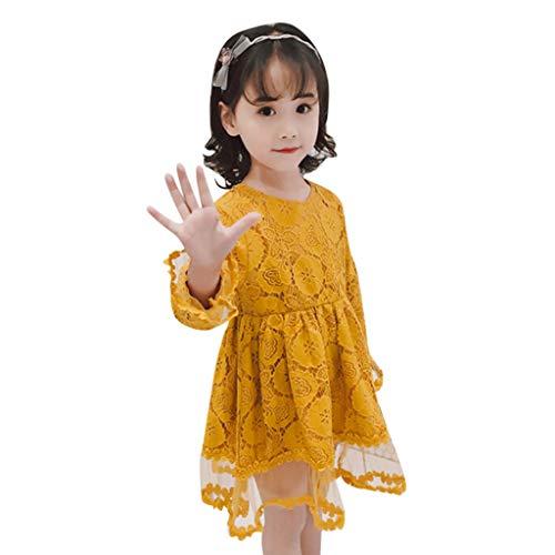 Moneycom Tenues Ete Jumpsuit Jupe Anniversaire Tulle Chic Ceremonie Mariage Enfant en Bas âge Enfants Bébé Filles Fleur Dentelle Tulle Partie Mariage Robe de Princesse Pageant Jaune(5-6 Ans)