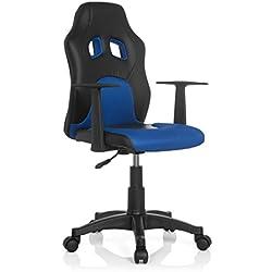 hjh OFFICE 670700 chaise de bureau enfant gaming, siège pivotant junior gamer TEEN RACER AL noir/bleu en simili cuir - tissu, siège pivotant avec accoudoirs, confortable grâce à un rembourrage épais, piètement robuste et stable