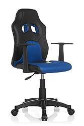 hjh OFFICE 670700 Kinderschreibtischstuhl TEEN RACER AL Kunstleder Schwarz / Blau Kinder-Drehstuhl höhenverstellbar mit Armlehne