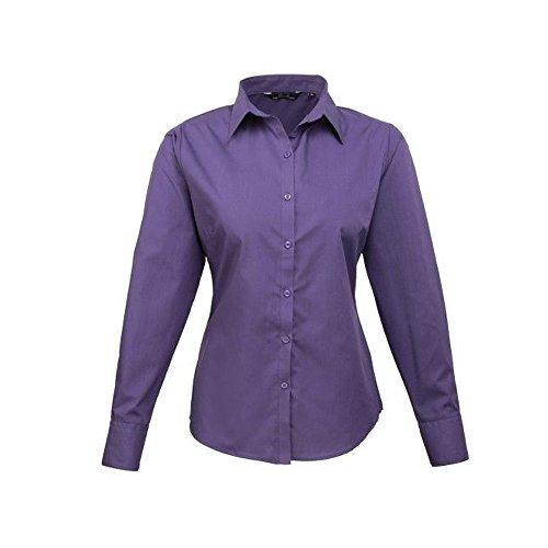 Premier Workwear Damen Bluse Ladies Poplin Long Sleeve Blouse Violett - Violett
