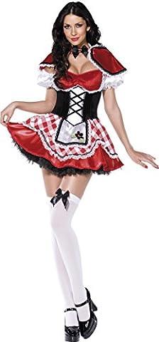 Fever, Damen Rotkäppchen Kostüm, Kleid mit Mock-Korsett und Schürze, Umhang und Ärmel, Größe: S, (Smiffys Fever Kostüme)