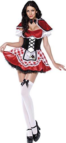 Fever, Damen Rotkäppchen Kostüm, Kleid mit Mock-Korsett und Schürze, Umhang und Ärmel, Größe: S, (Ziehen Sie Kostüme Für Männer)