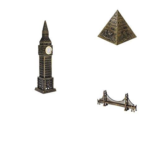Sharplace Vintage Metall Golden Gate Bridge + + Egypt Pyramid + Big Ben Modell für Haus Büro Bücherregal Deko (Bronze Bücherregal)