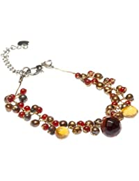 Oi! - B2780 - Bracelet Femme - Rhodium plaqué  - Perle/Cornaline  - Perle d'eau douce