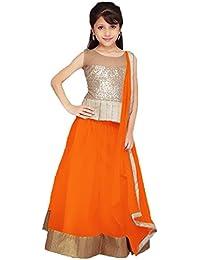S R Fashion Girls' Soft Net Silk Multi-Coloured Lehenga Choli For Girls 8 to 11 Years(SRF_GB1_65840_Free Size_8 to 11 Years) (Orange)