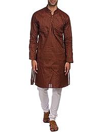 WINTAGE Männer 100% Baumwolle Tailored Fit Party/Festive Indian Kurta Pyjama Pyjama Schlaf-Sets: Orange, Groß