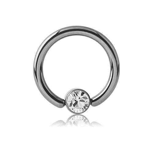 Titanium Jewelled Ball Closure Ring - Crystal Clear 1.6 x 12mm