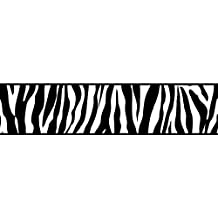 BHF FDB50031 - Cenefa de papel pintado autoadhesivo para cocina y baño, diseño estampado de cebra, color blanco y negro