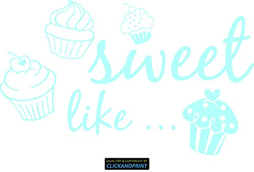 CLICKANDPRINT Aufkleber » sweet like..., 150x91,9cm, Glasdekor Frosted Glass mint • Dekoaufkleber / Autoaufkleber / Sticker / Decal / Vinyl