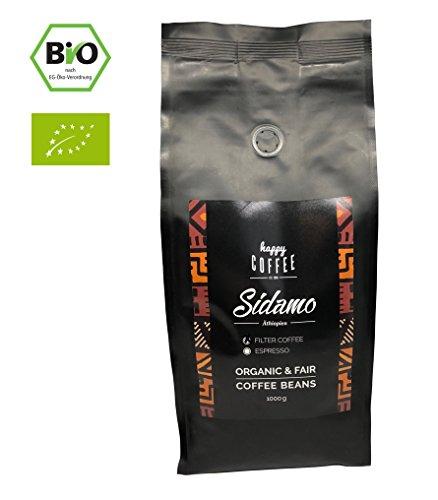 HAPPY COFFEE Sidamo Filterkaffee Bohnen - Frisch geröstet - ganze Bohne - Premium Bio-Kaffee aus...