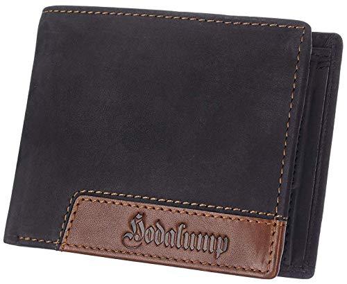 Echt-Leder Geldbörse Herren in Geschenkbox - Premium Geldbeutel handgefertigt - Portemonnaie - Wallet - Portmonee - Schwarz - RFID-Schutz -