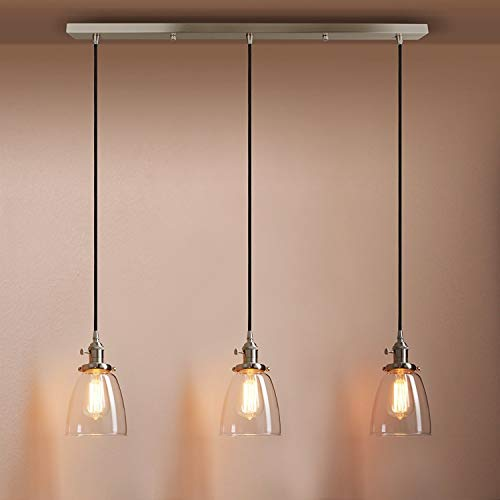 ● Industrielle moderne Vintage Loft Bar Kaffee Küche Schalter Cluster Kronleuchter Glocke Klarglas Globe Shade 3 Lichter hängende Deckenpendelleuchte Lampe passend für Insel Wohnzimmer Esszimmer Schla -