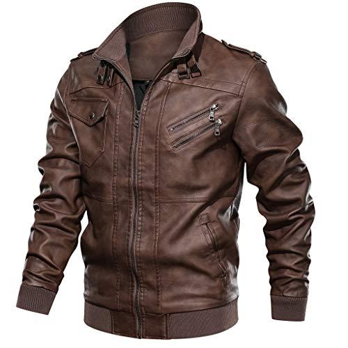 DNOQN Männer Jacke Winter Pullover Herren Jacken Online Herren Herbst Winter Vintage Reißverschluss Stehkragen Solide Kunstleder Mantel