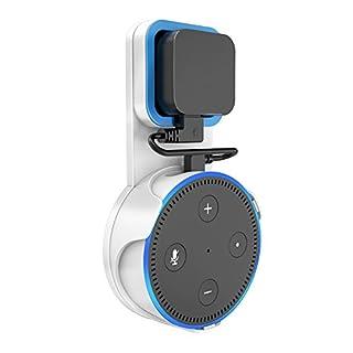 SPORTLINK Wandhalterung Halterung Ständer für Dot 2nd Generation(Ausgabe 2016), Aufgehängt Wall Mount Für Home Voice Assistants, Direkt in der Steckdose, mit Kurzen Schwarz USB Kabel (Weiß)