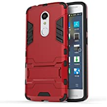 Bllosem ZTE Axon 7 mini Case Hybrid Dual Layer PC+TPU Full Body Shock Resistant Armour with Kickstand Function Case for ZTE Axon 7 mini Red