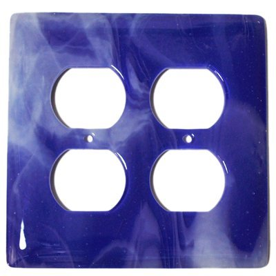 Kobalt-swirl (Aquila Art Glass wp2060–2gr Weiß Swirl Kobalt Blau 2-Gang Köcher)