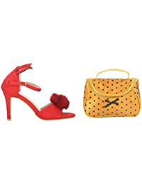 Estatos Suede Black Peep Toe Buckle Closure Ankle Strap Stilettos With Yellow Polka Dots Cosmetic Bag