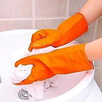 Guantes reutilizables para lavar platos de cocina, guantes para el hogar, impermeables, guantes para lavavajillas, manga larga small naranja