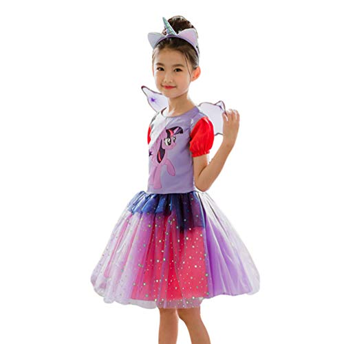 JEELINBORE Prinzessin Kostüm für Kinder Mädchen Kleid mit Stirnband Halloween Karneval Cosplay Partykleid Tutu Rock (Horse, 140)