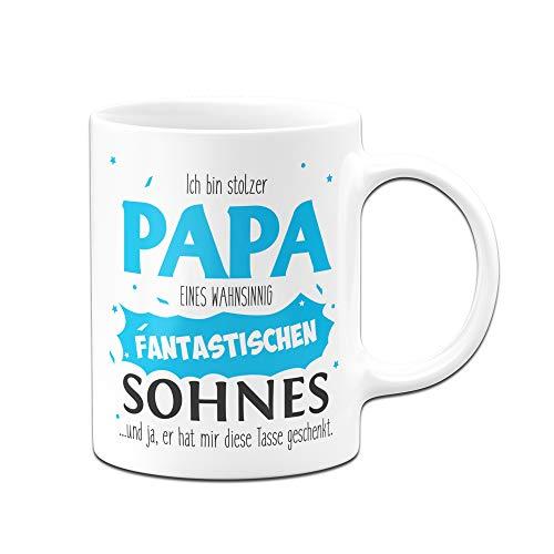 Tassenbrennerei Tasse Papa Sohn - Stolzer Papa - Geschenk für Vater Papa (Weiß)