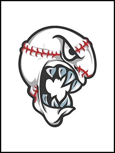 Fliesenaufkleber Fliesentattoos für Bad & Küche - Küchenfliesen für weiße einzelne Fließen empfohlen 15x20 cm - Sport Maskottchen Logos - beängstigend Baseball-Ball-Maskottchen-Logo (Beängstigend Baseball)