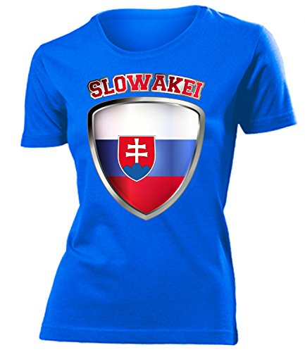 Slowakei Flagge T-shirt (Slowakei 4694 Fussball Fanshirt Fan Shirt Tshirt Fanartikel Artikel Frauen Damen T-Shirts Blau L)