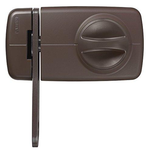 ABUS Türzusatzschloss 7030 mit Sperrbügel und Drehknauf ,von asußen auf- und abschließbar , Zusatzsicherung für Haustüren , braun , 53274