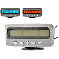 4 in 1 Car Indoor Outdoor Temperatur Hour LCD Anzeige-Stopp-Alarm Blau und Orange Hintergrundbeleuchtung DC 12V Auto Gauges