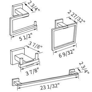 KES Baño 4 Piezas Hardware Set Accesorios SUS 304 Acero Inoxidable Montaje...