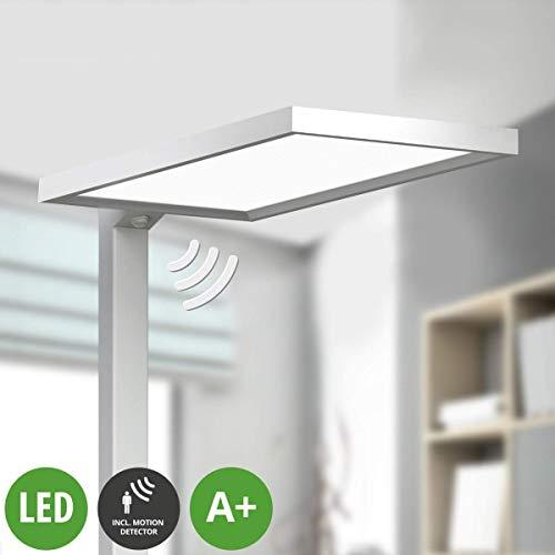Lampenwelt LED Stehlampe \'Dorean\' (Modern) aus Aluminium u.a. für Arbeitszimmer & Büro (2 flammig, A+, inkl. Leuchtmittel) - Büro-Stehleuchte, Bürolampe, Arbeitsplatzlampe, Standleuchte