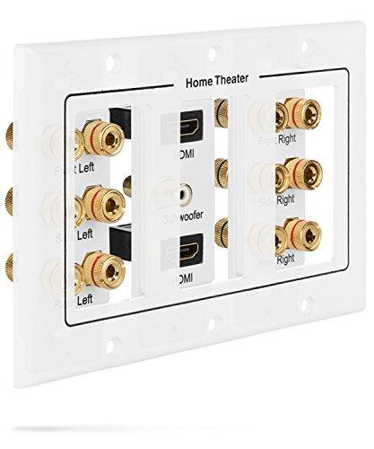 Fosmon HD8005 [3-teilig, 6.1 Surround Distribution] Anschlusstafel für Heimkino, Kupferanschlüsse, Polklemmen, Bananenstecker - 3