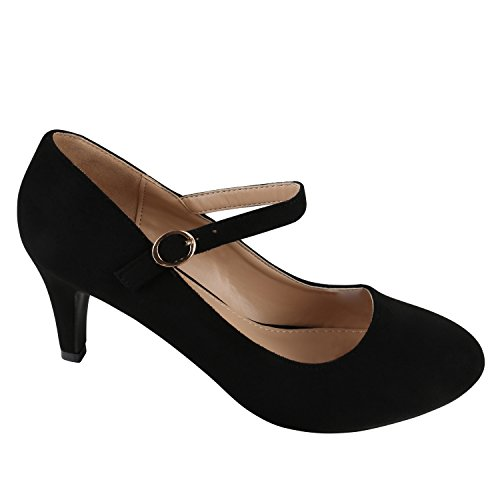Damen Pumps T-Strap | Blockabsatz High Heels | Damenschuhe Mary Janes | Samt Velours Glitzer | Spangenpumps Lack Leder-Optik Schwarz Velours