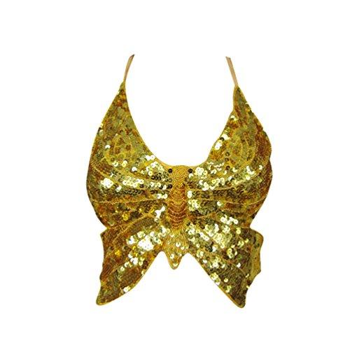 ZhiYuanAN Damen Bauchtanz BH Tops Pailletten Kostüme Bauchtanz Schmetterlings Tops Schmetterlings Bra Gold