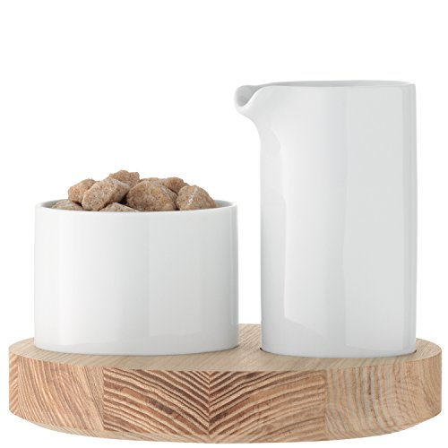 LSA Milch Zucker Set Lotta Porzellan / Esche groß. Durchmesser: 18cm