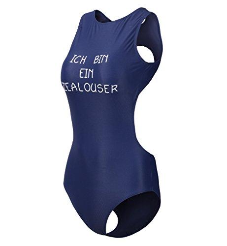 Surenow Damen Einteilig Rückenfrei Push Up Bikini Tankini Bademode Badeanzug Blau
