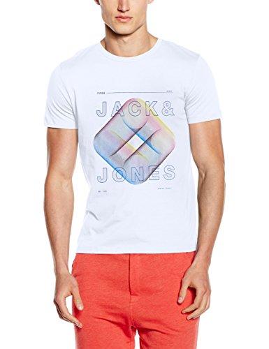 JACK & JONES Herren T-Shirt Jcofloat-Belkin Tee SS Crew Neck Camp Weiß (White Fit:SLIM - JJ PRINT)