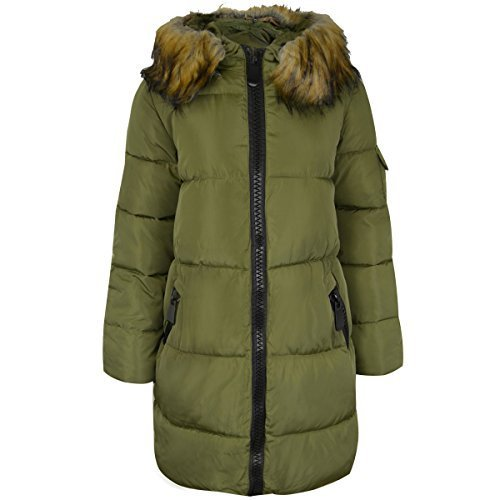 Damen Gesteppt Langer Winter Gefütterte Jacke Kugelfisch Pelzkragen Jacke Mit Kapuze Größe Khakigrün