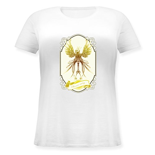 Vintage - Phoenix rising - Lockeres Damen-Shirt in großen Größen mit Rundhalsausschnitt Weiß