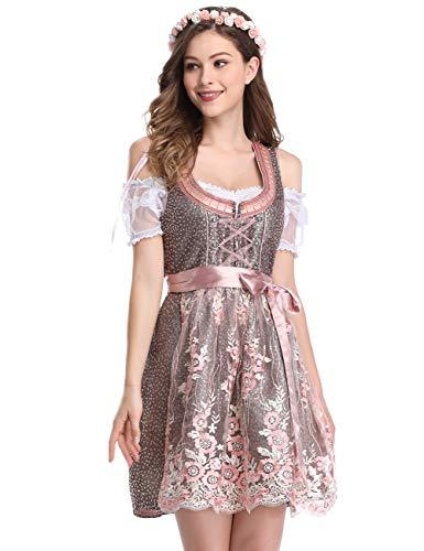 Clearlove Dirndl 3 tlg.Damen Midi Trachtenkleid für Oktoberfest- Spitzen Kleid, Bluse & Schürze- Gr. 36, Rosa Spitzen