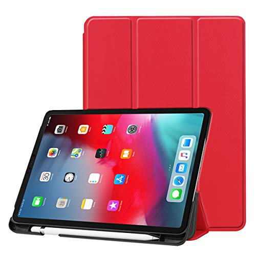 fitmore for iPad Pro 12.9 Inch 2018 Slim Fit Tri-Fold Stand Case PU Leather Folio Tablet Protector Cover with Pencil Holder (Red) - Red Pro Guard Case