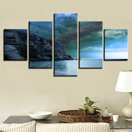 adgkitb canvas Fünf Stücke Abstrakte Kunst Poster Home Küche Wanddekor Bild Lienzos Cuadros Decorativos Strand Seascape -
