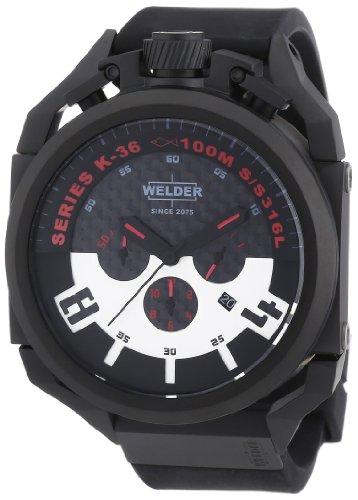 Welder K36 2401 - Reloj cronógrafo de cuarzo unisex con correa de caucho, color negro
