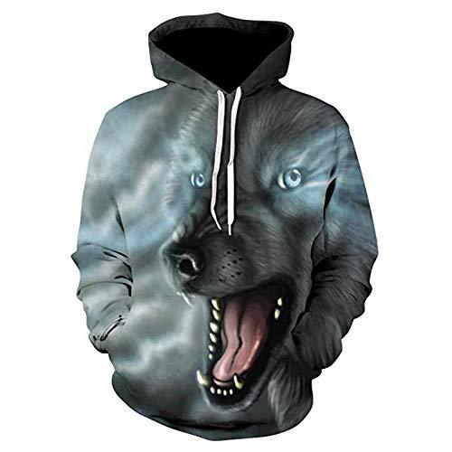 Tasche M&m Kostüm Muster - CSY-IPSE Neutral Hoodie Damen 3D Print Hoodie Langarm Sweatshirt & Tasche, Party Kostüm, HD Print, Wolf Muster, M