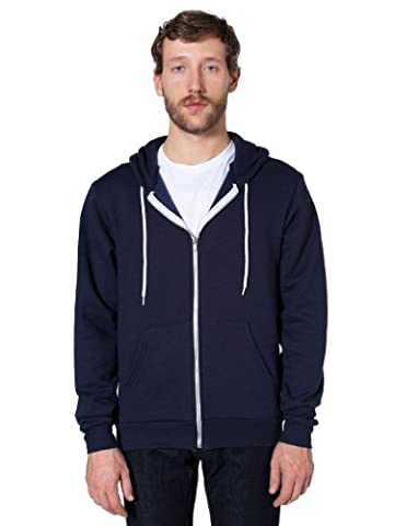 American Apparel Unisex Flex Fleece Zip Hoodie, Navy, Small