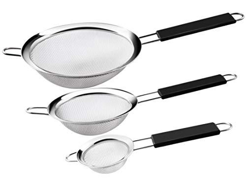 SOSMAR 3 Größen Hochwertig Edelstahl Siebe für Küche - 7, 12 & 18cm feinmaschig Küchensieb,...